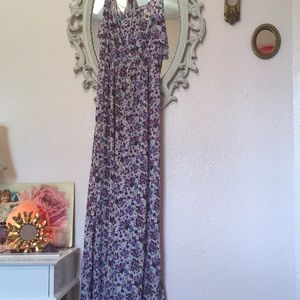 Floral with ruffle bodice details Maxi dress